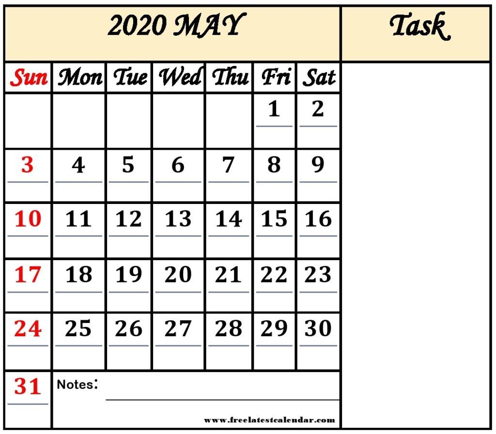 May 2020 Calendar Printable Template