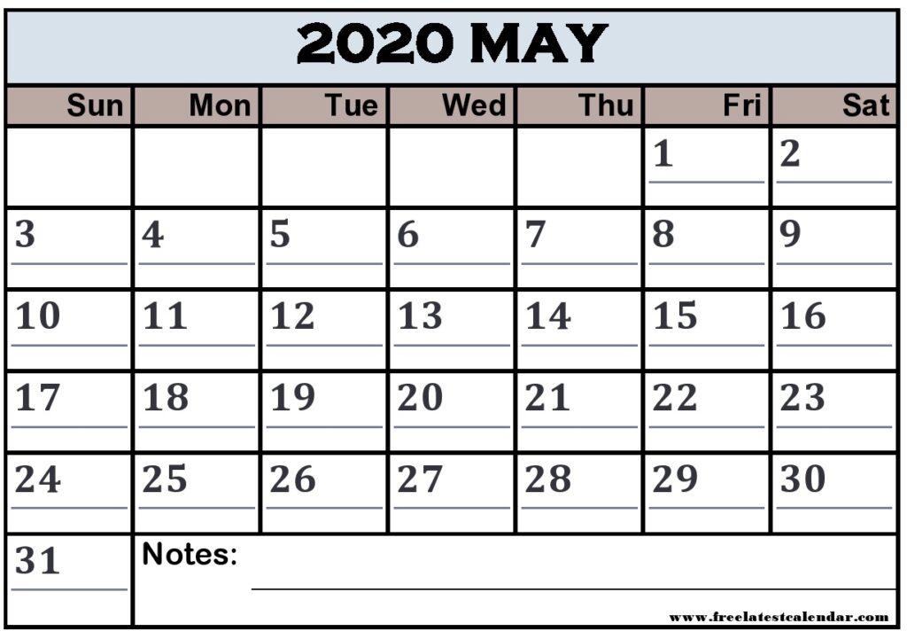 May 2020 Calendar Printable Vertical List