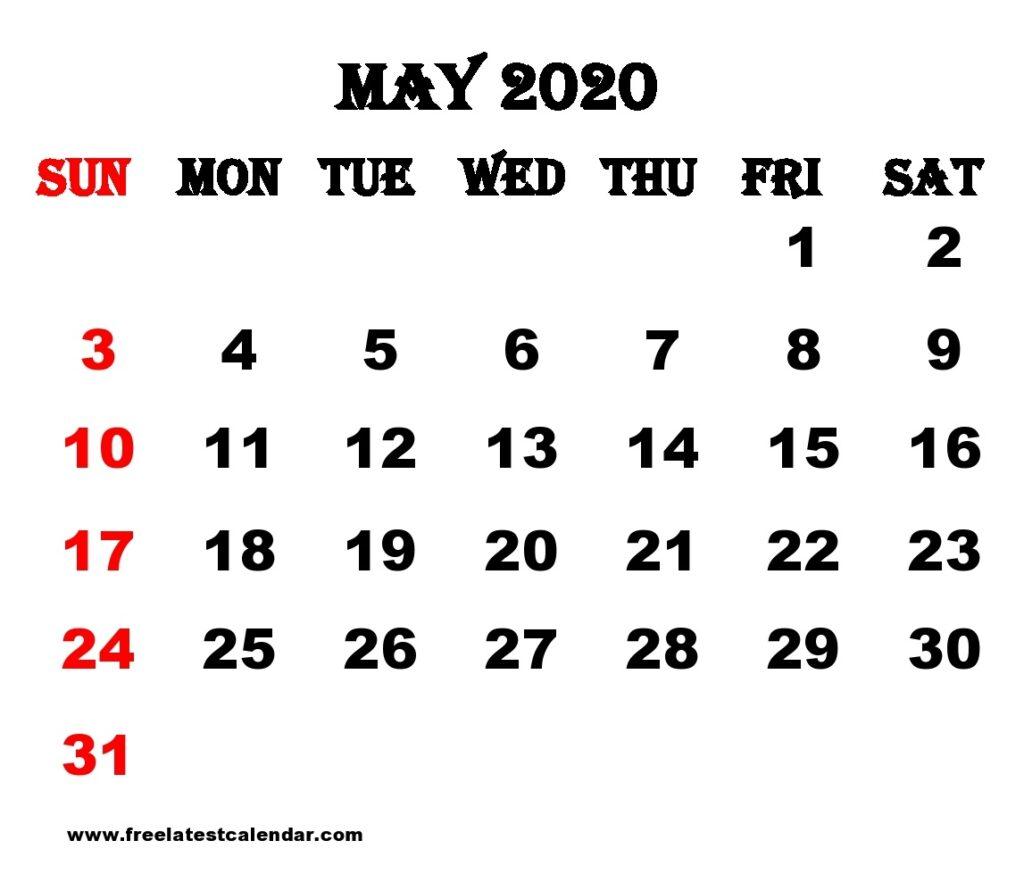 May 2020 Calendar Printable Week Number
