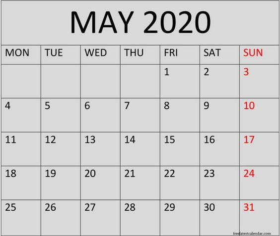 May 2020 Calendar With Holidays UK
