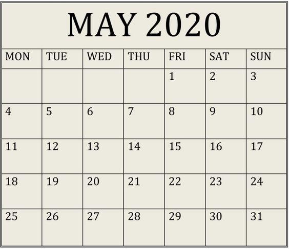 May 2020 Calendar With Holidays USA