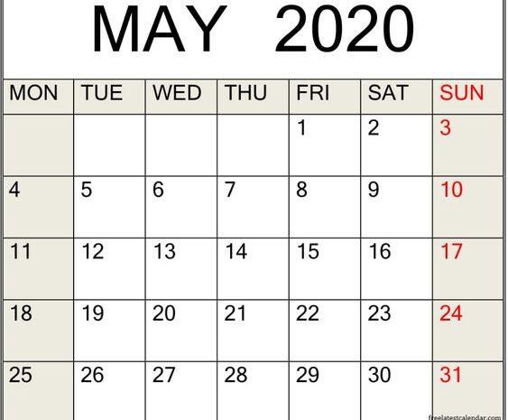 May Calendar 2020 Free Download