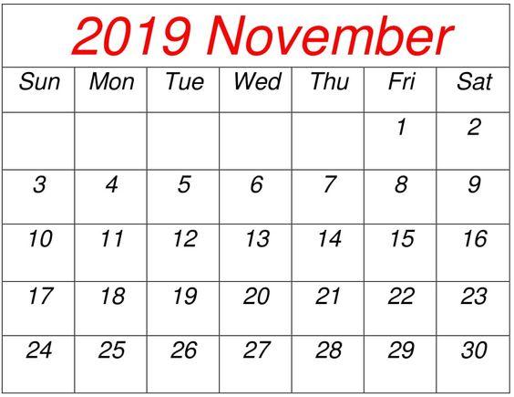 November 2019 Blank Calendar Pinterest
