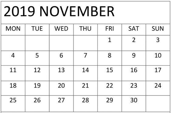 November 2019 Blank Calendar PDF Template