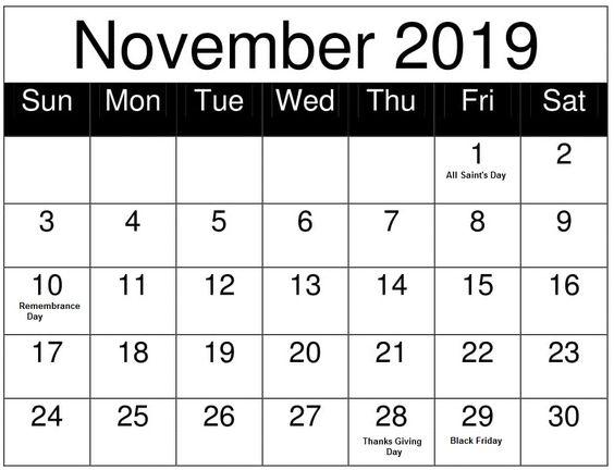 November 2019 Calendar Black Font