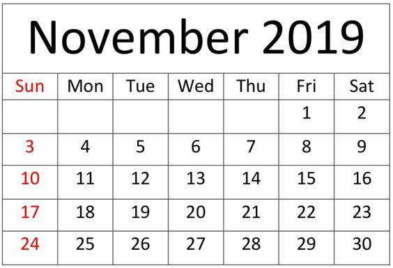 November 2019 Calendar Template Editable