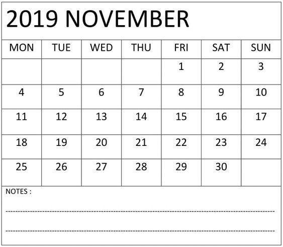 November 2019 Calendar With Holidays Notes