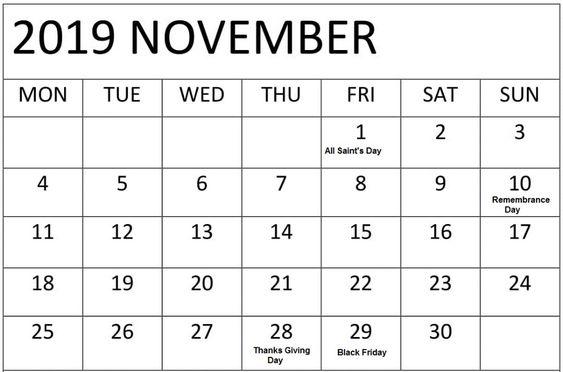 November 2019 Calendar With Holidays USA