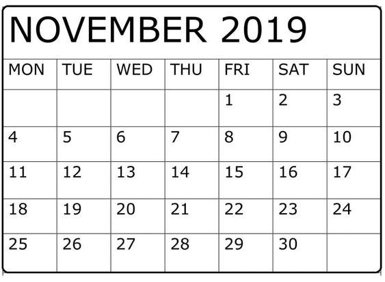 November 2019 Printable Calendar Monthly