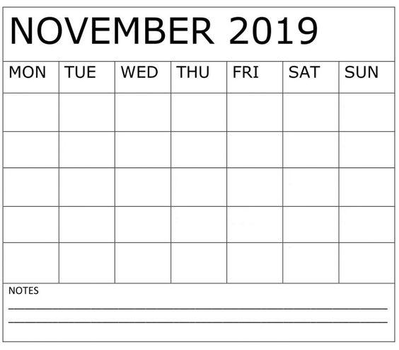 November 2019 Printable Calendar Yearly