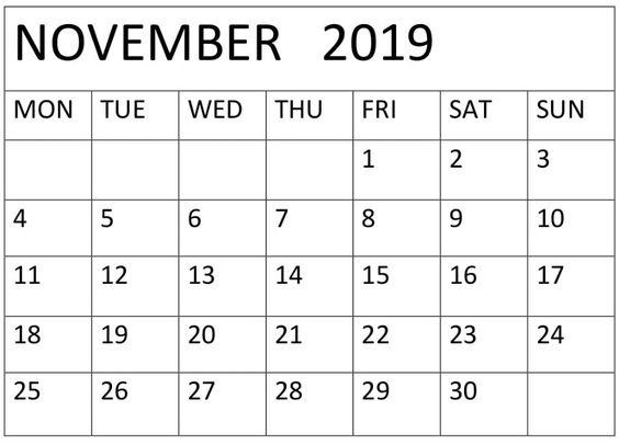 November Calendar 2019 Editable