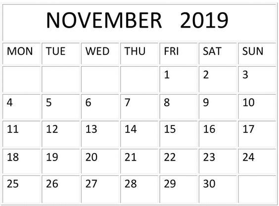 November Calendar 2019 Printable Planner