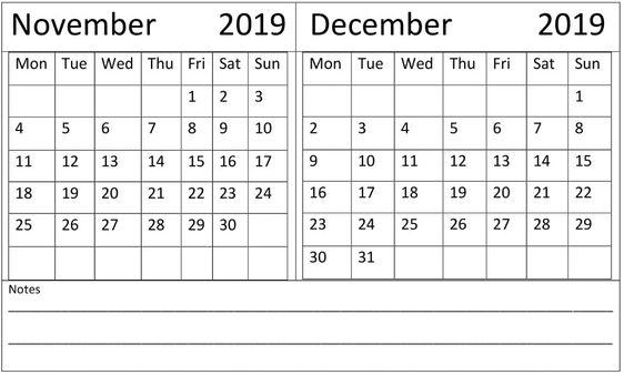 November December 2019 Calendar Download