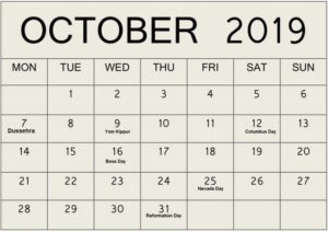 October 2019 Blank Calendar Free Download