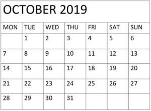 October 2019 Blank Calendar Template
