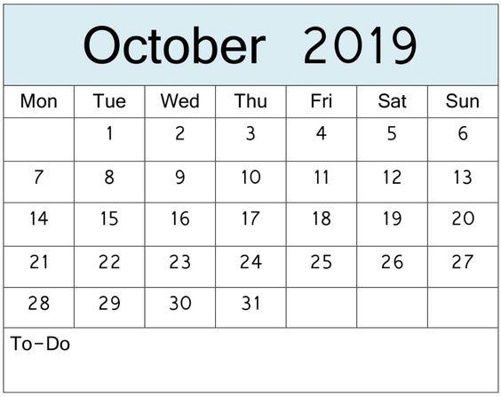 October 2019 Calendar Download