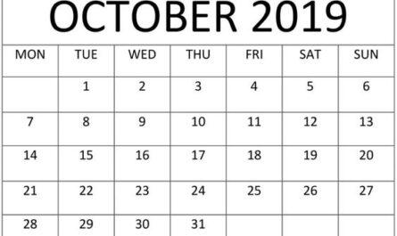 October 2019 Calendar Monthly Template