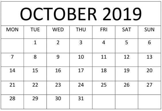 October 2019 Calendar Online Download