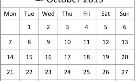 October 2019 Calendar Printable Vertical