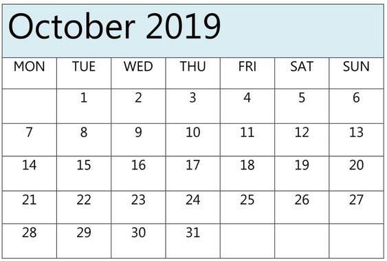 October 2019 Calendar With Holidays Canada, Australia