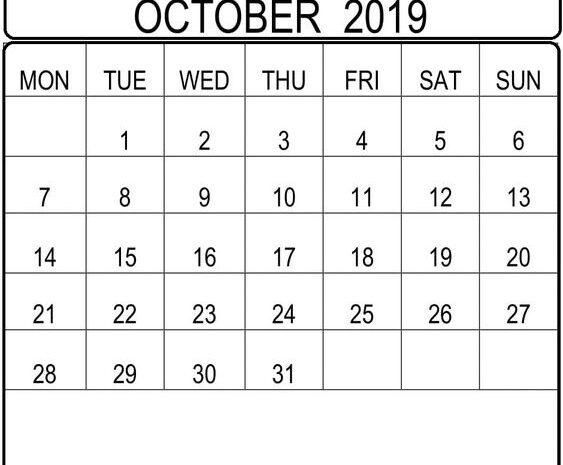October 2019 Calendar With Holidays Bank, Public List
