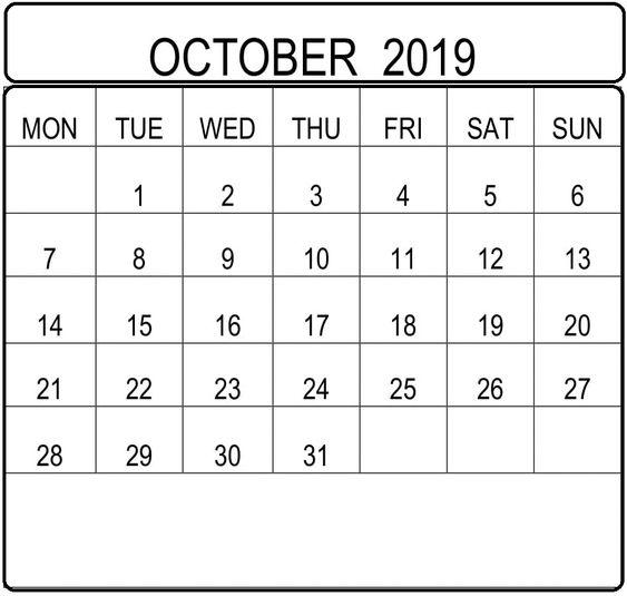 October 2019 Calendar With Holidays USA