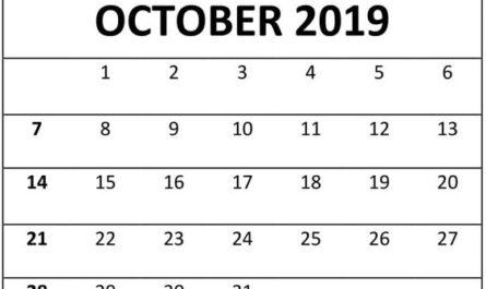 October 2019 Printable Calendar Bold Font