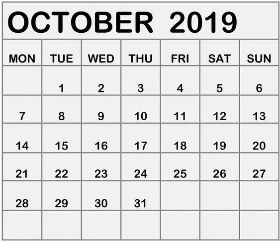 October Calendar 2019 Blank