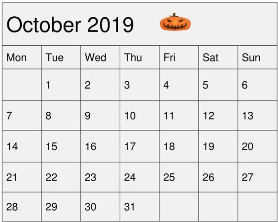 October Calendar 2019 Grey Color
