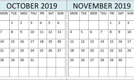 October November 2019 Calendar Landscape