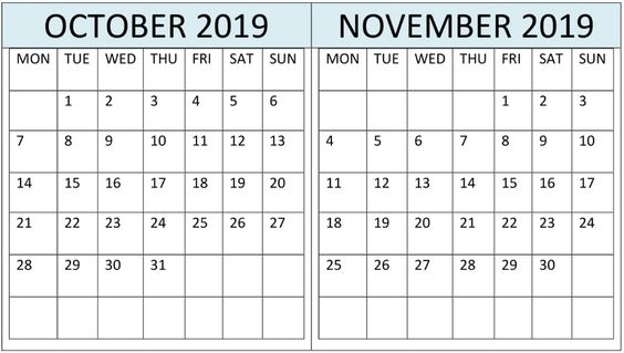 October November 2019 Calendar PDF Template