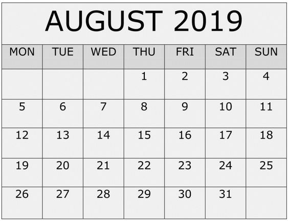 Printable August 2019 Calendar Monthly