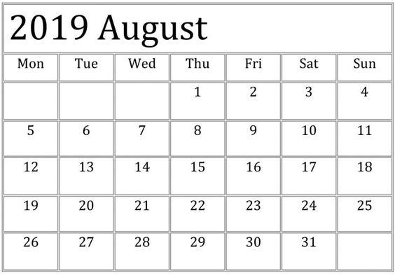 Printable August 2019 Calendar Wall