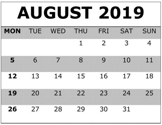 Printable August 2019 Calendar Word, PDF Docs