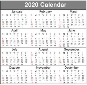 Printable Calendar 2020 Yearly Template