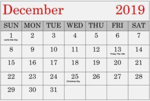 Printable December 2019 Calendar Decorative