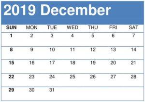 Printable December 2019 Calendar Editable