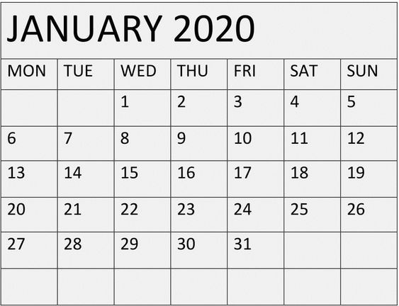 Printable January 2020 Calendar Landscape