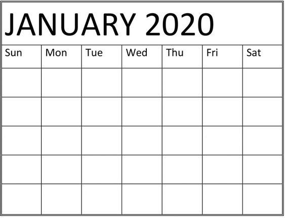 Printable January 2020 Calendar Template
