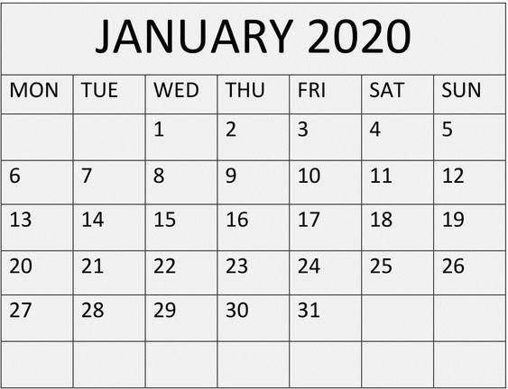 Printable January 2020 Calendar Vertical