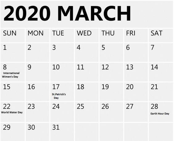 Printable March 2020 Calendar Desk