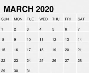 Printable March 2020 Calendar With Holiday Notes