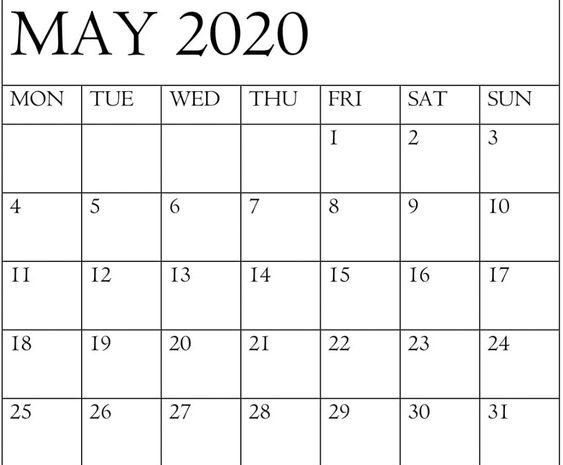 Printable May 2020 Calendar Large Print