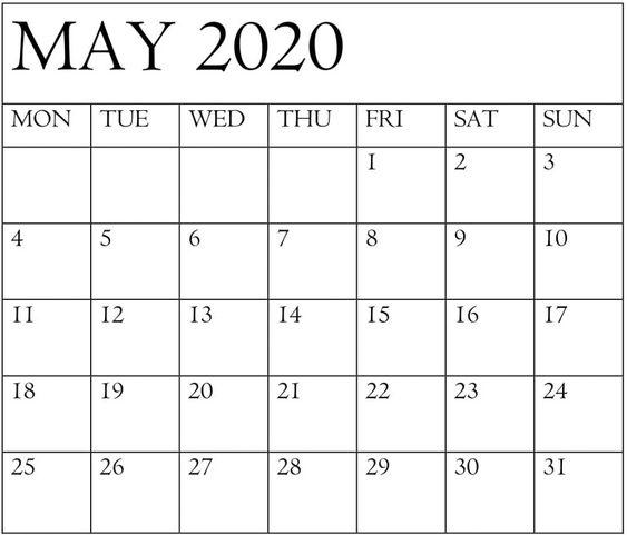 Printable May 2020 Calendar Template