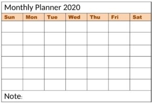 Printable Monthly Planner Templates