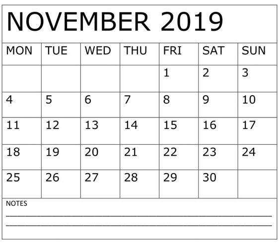 Printable November 2019 Calendar Planner