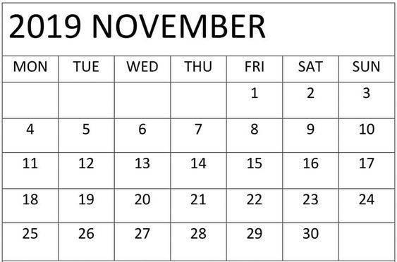 Printable November 2019 Calendar Weekly Planner