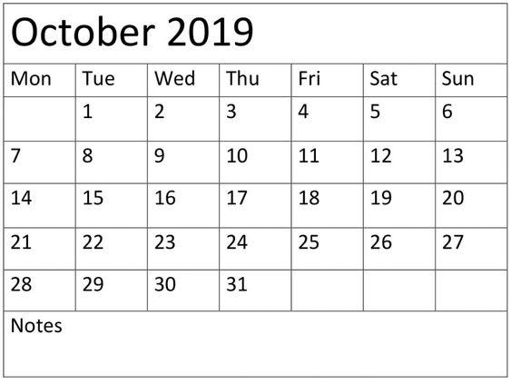 Printable October 2019 Calendar Weekly planner
