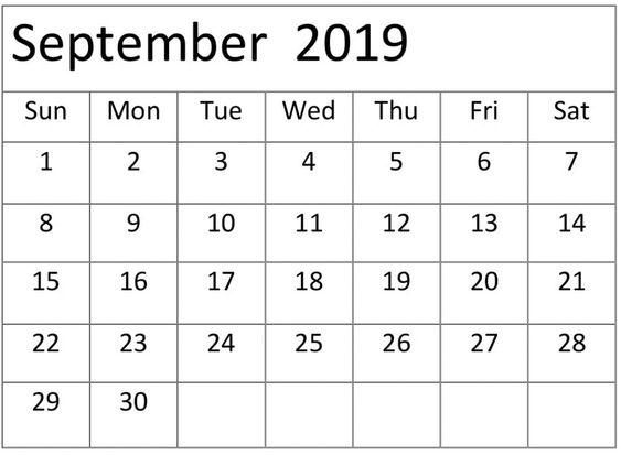 Printable September 2019 Calendar Editable