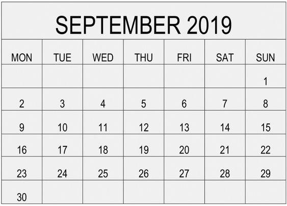 Printable September 2019 Calendar Excel Template